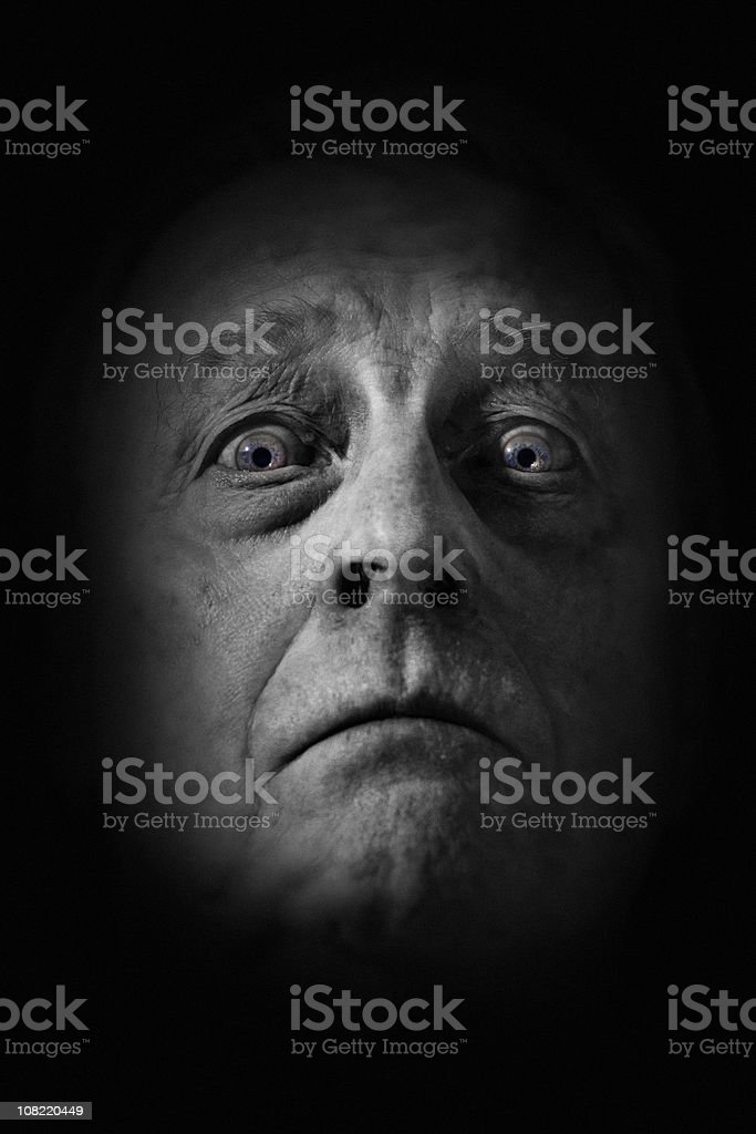 Portrait of Man's Face, Black and White royalty-free stock photo