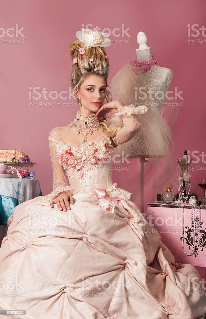 Portrait of Marie Antoinette in pink stock photo