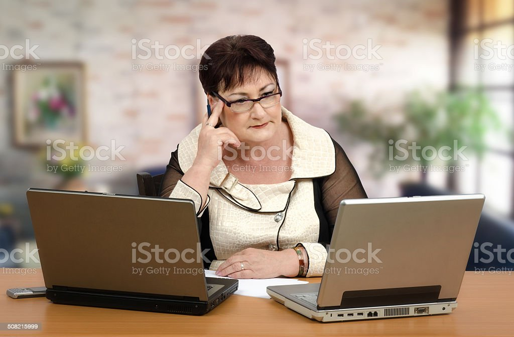 Portrait of math online tutor stock photo