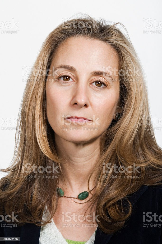 Portrait of mature adult woman stock photo