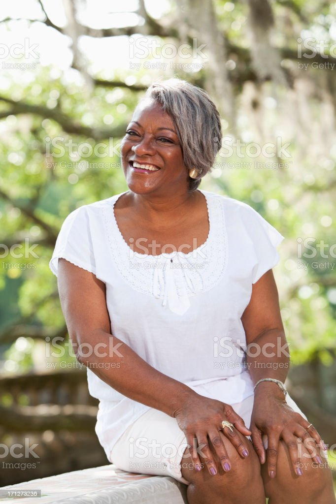 Portrait of mature African American woman stock photo