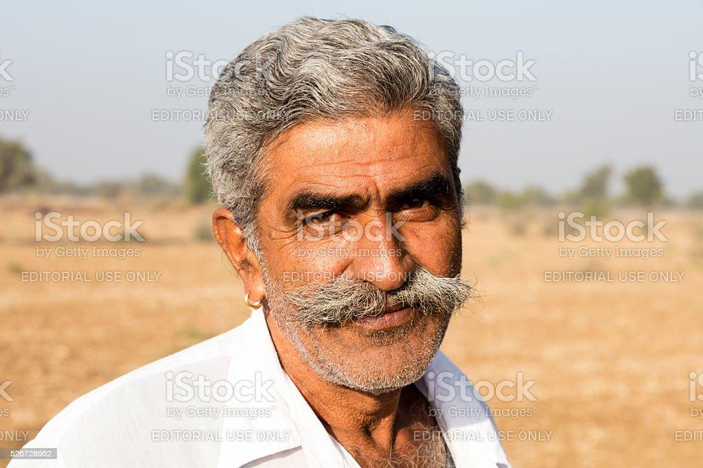 Portrait of mature Indian man, Rajasthan, India stock photo