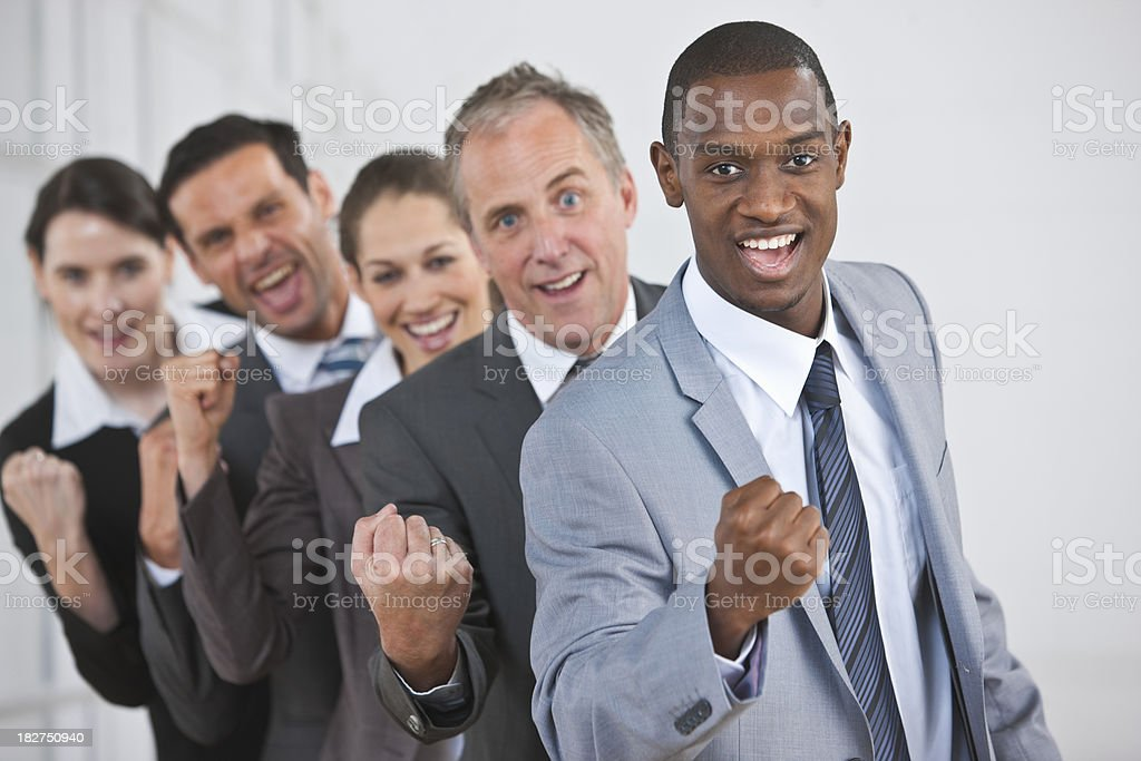 portrait of mature interracial Business Group standing in line c royalty-free stock photo