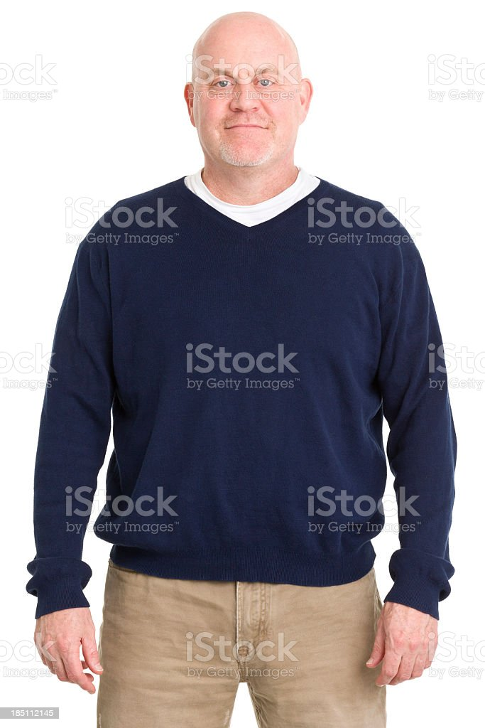 Portrait of mature man isolated on white background royalty-free stock photo