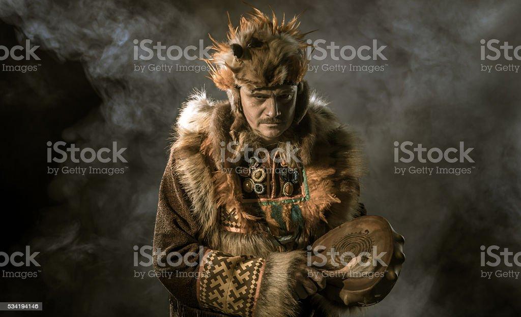 Portrait Of Mature Shaman stock photo