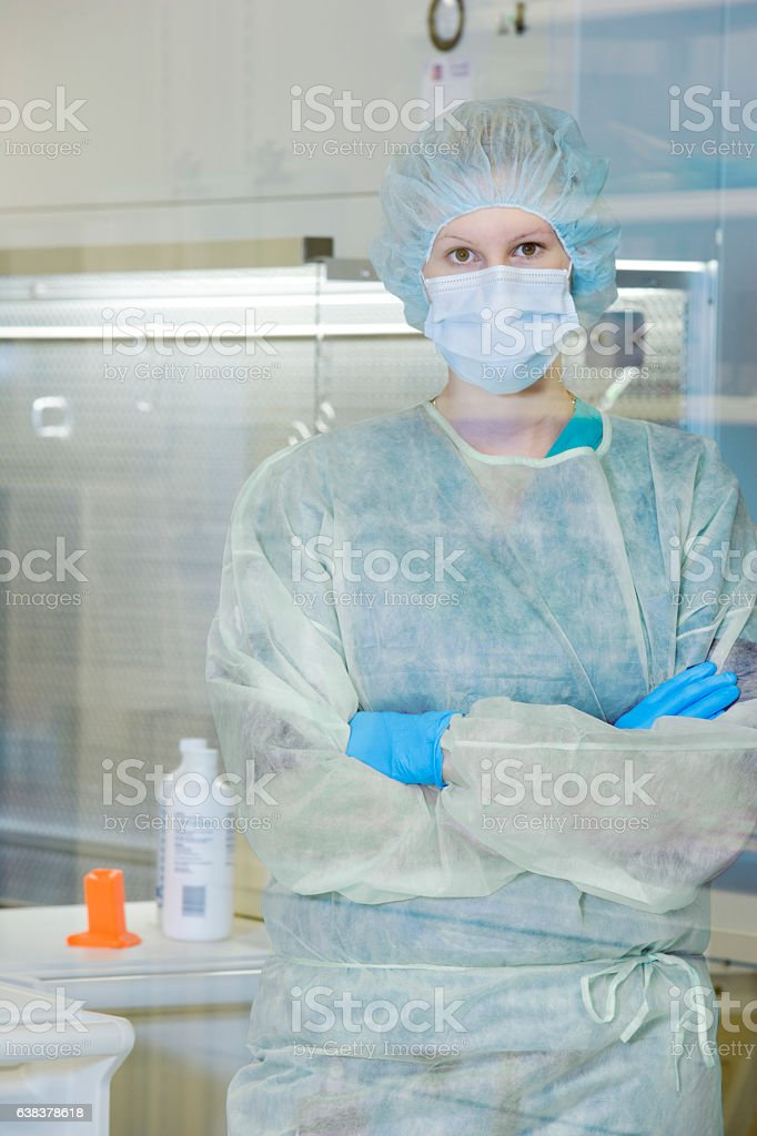 Portrait of medical researcher in lab facility stock photo
