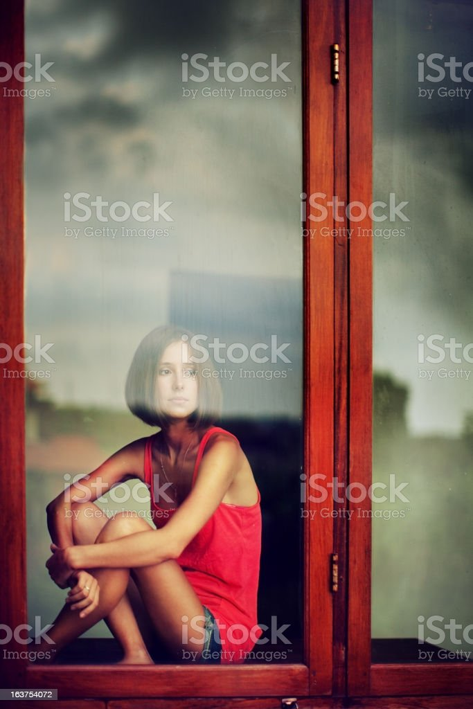 Portrait of melancholy woman royalty-free stock photo