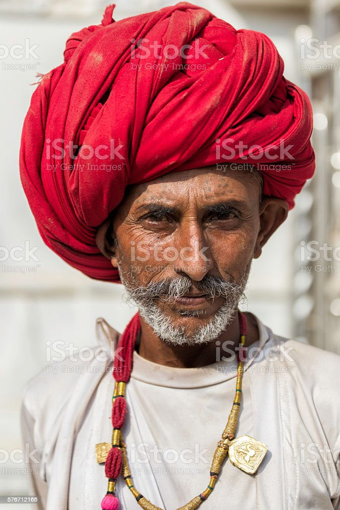 Portrait of men from Rajasthan, India. stock photo