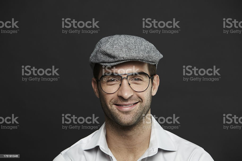 Portrait of mid adult man in sixpence stock photo