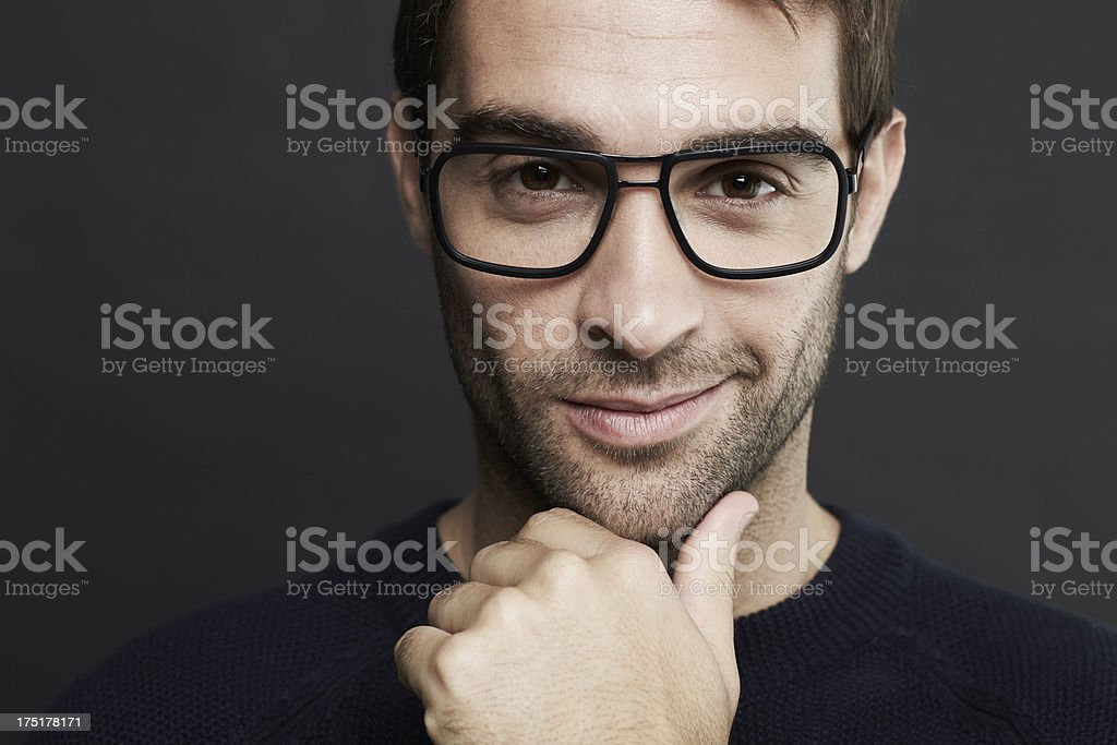 Portrait of mid adult man wearing glasses stock photo