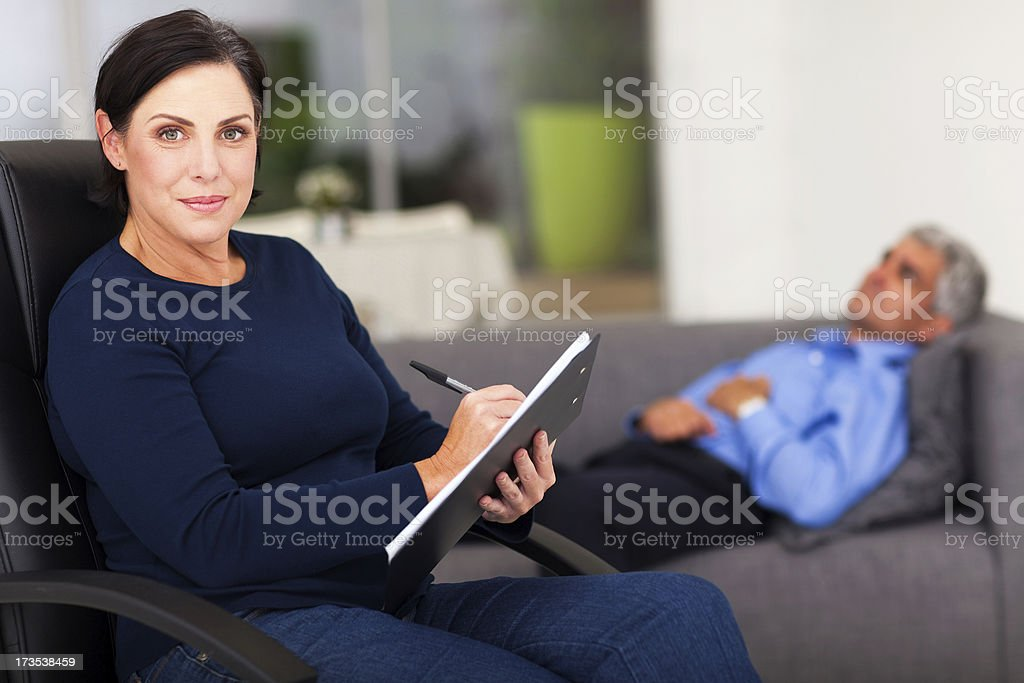 portrait of middle aged female therapist royalty-free stock photo