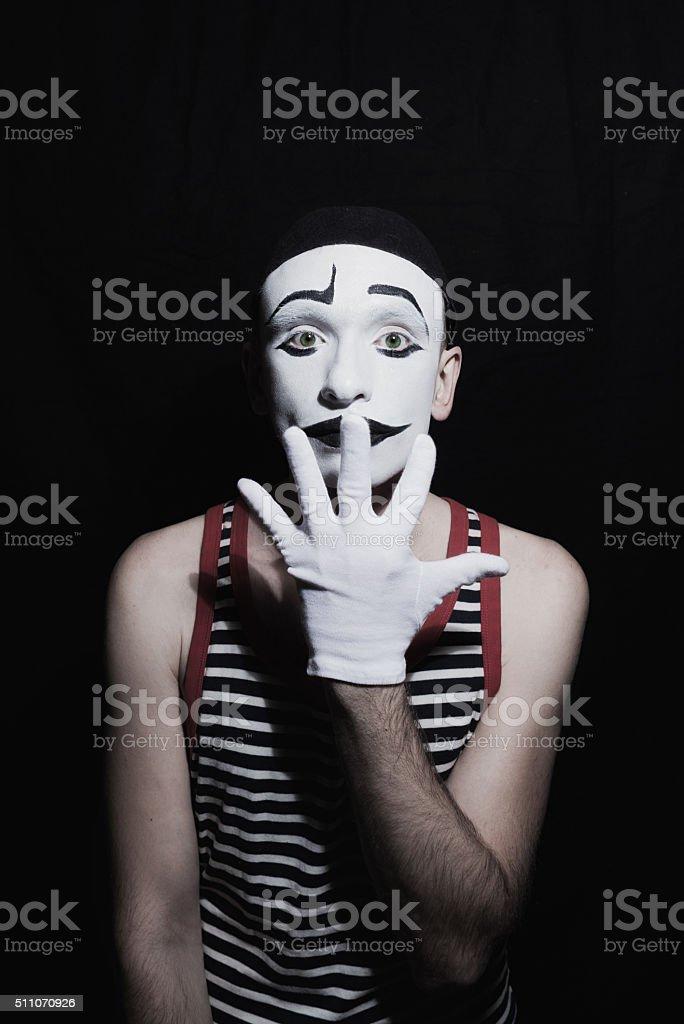 Portrait of mime stock photo