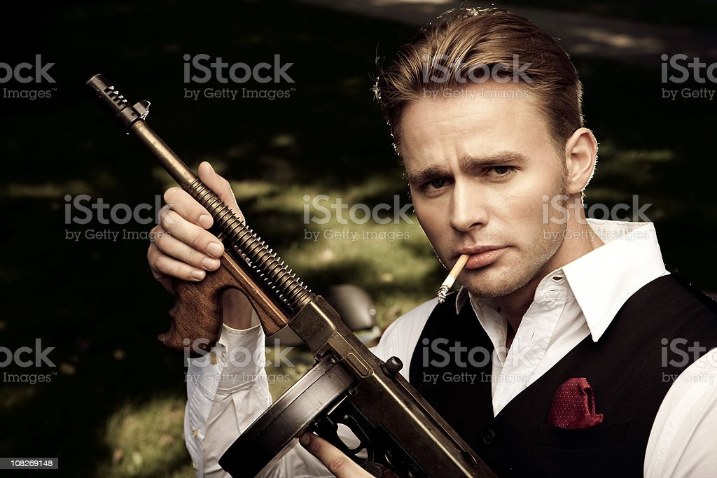 Portrait of Mobster with Tommy Gun stock photo