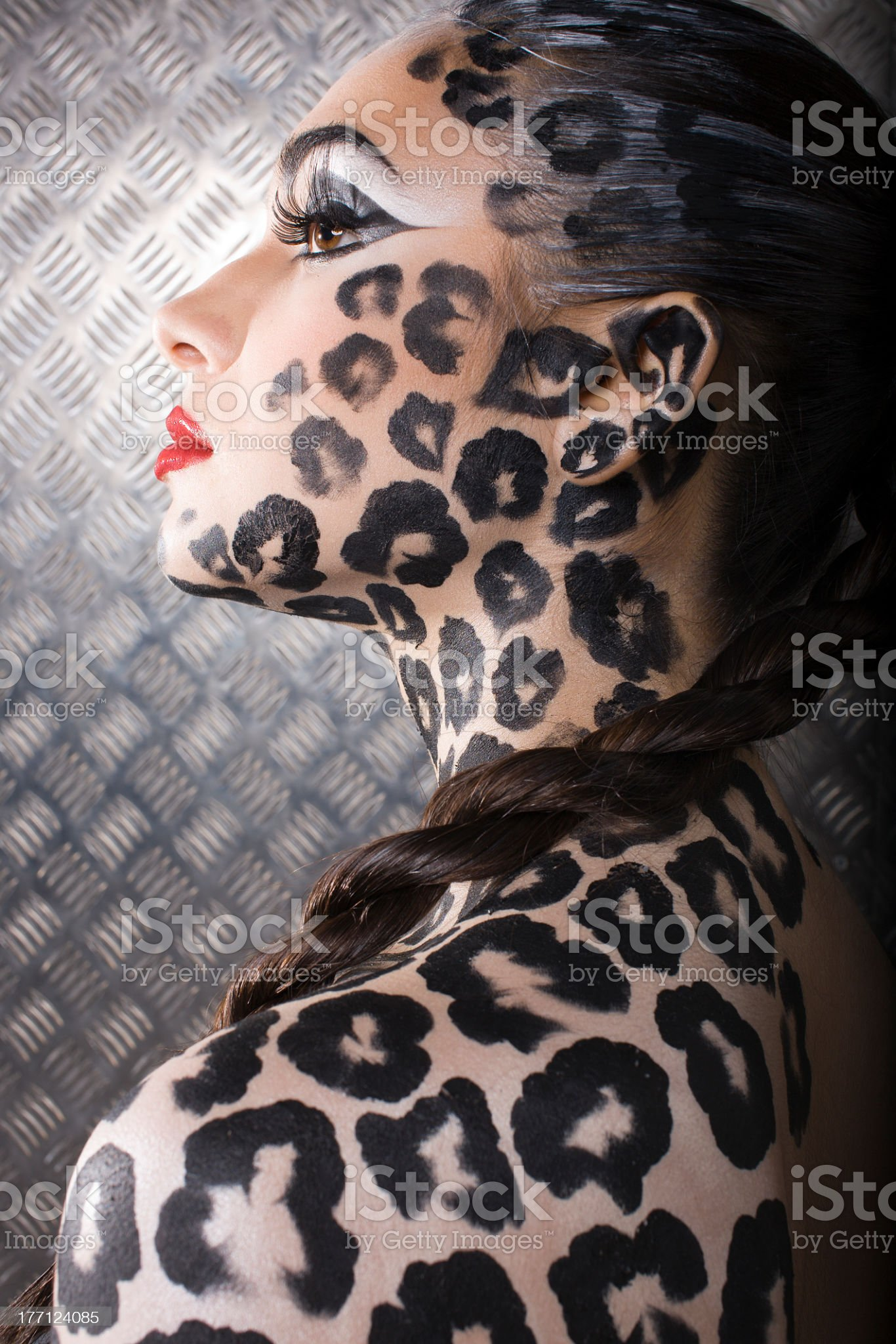 portrait of model in cat make-up and bodyart royalty-free stock photo