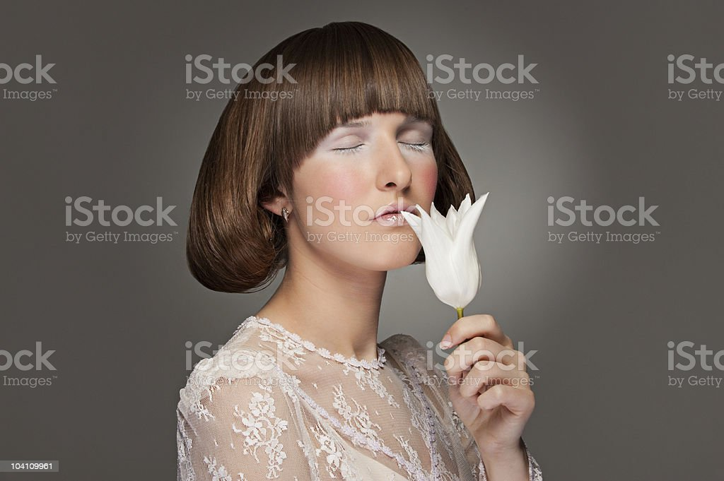 portrait of model with tulip royalty-free stock photo