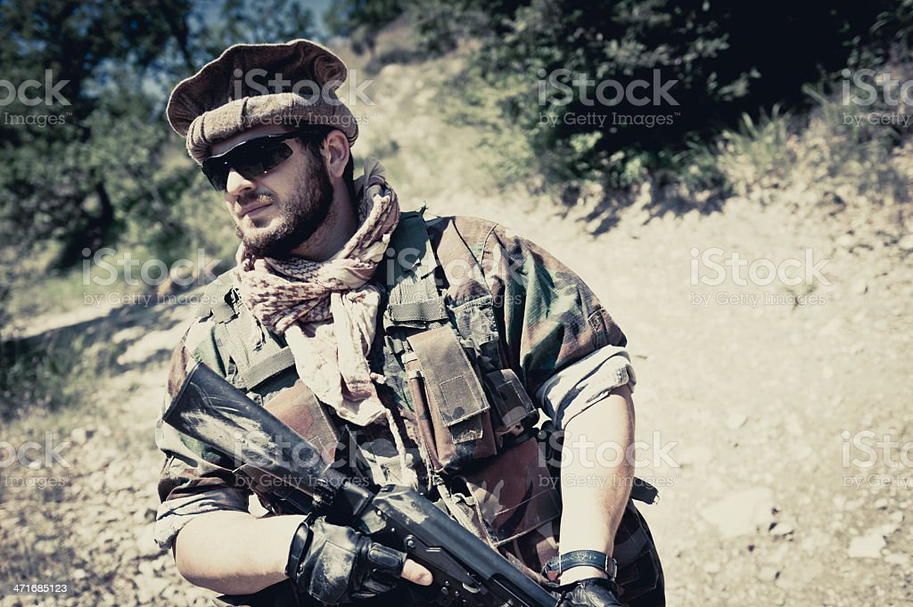Portrait of Modern Mercenary Soldier Dressed as Afghan Guide royalty-free stock photo