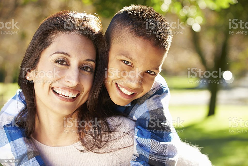 Portrait Of Mother And Son In Countryside stock photo