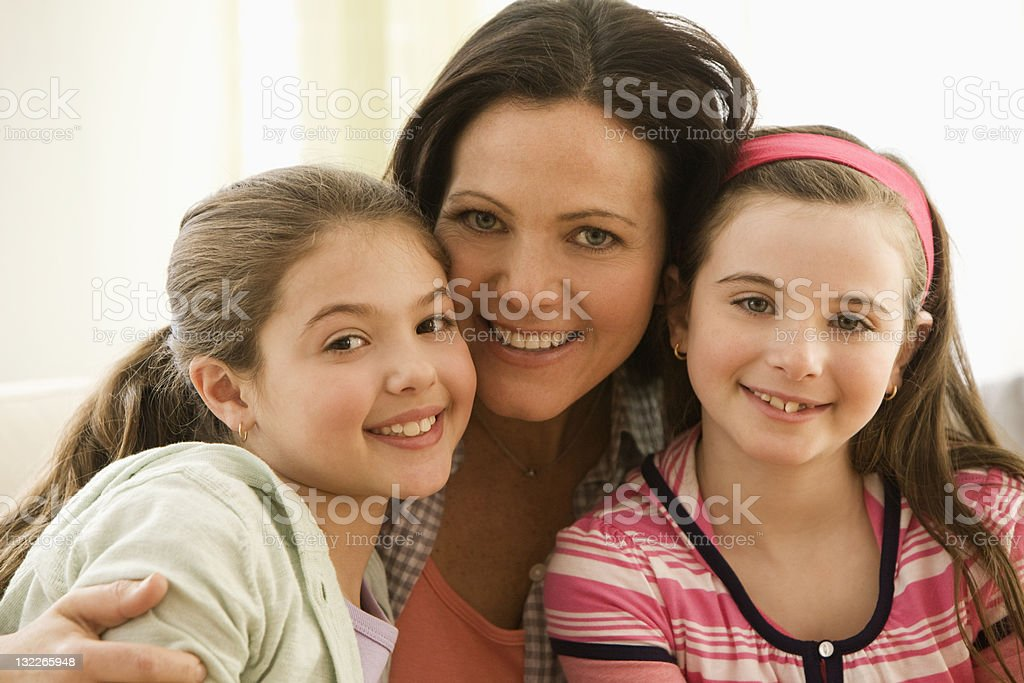 Portrait of Mother and two daughters royalty-free stock photo