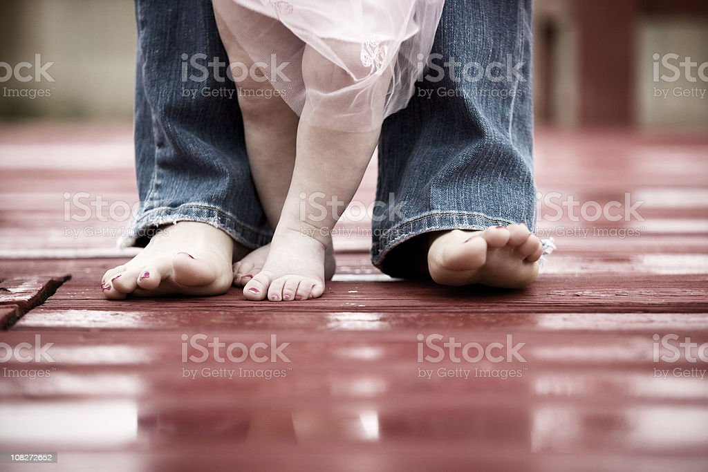Portrait of Mothers Feet with Daughter royalty-free stock photo