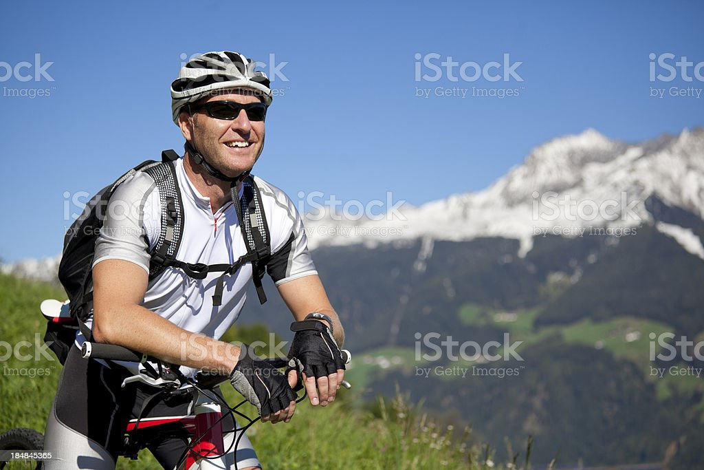 Portrait of mountain biker royalty-free stock photo
