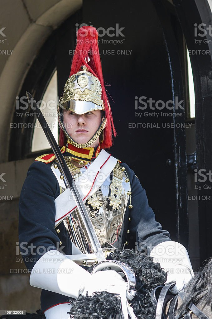 Portrait of mounted Royal Horse Guard trooper stock photo