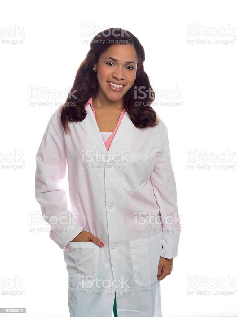 Portrait of multi ethnic female in lap coat stock photo