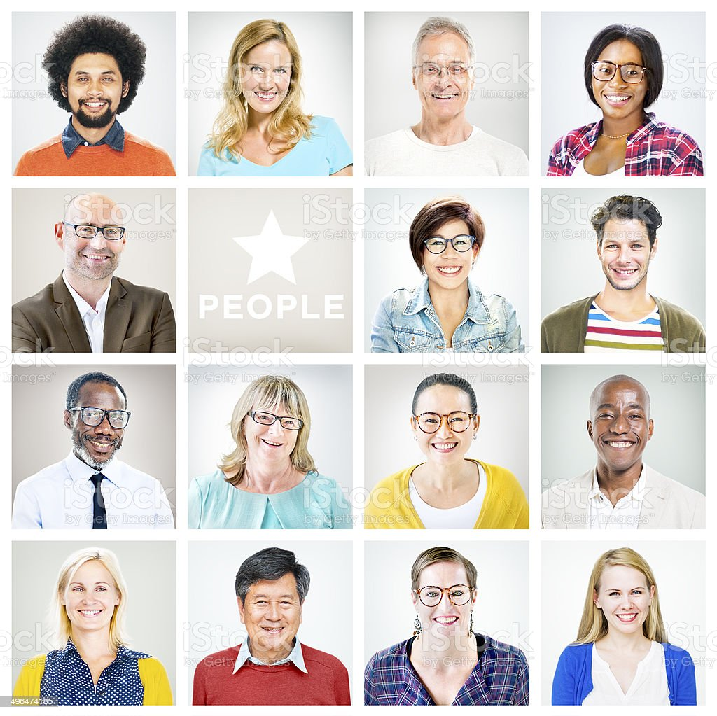 Portrait of Multiethnic Colourful Cheerful People stock photo