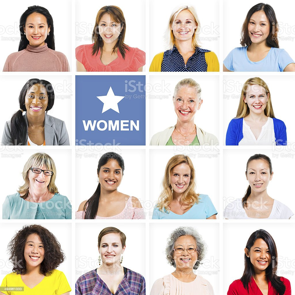 Portrait of Multiethnic Diverse Cheerful Women stock photo