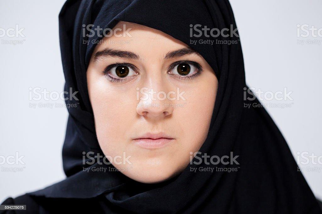 Portrait of muslim woman stock photo