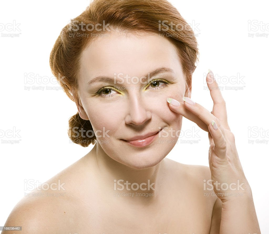 portrait of natural beauty adult woman happy with her skin royalty-free stock photo