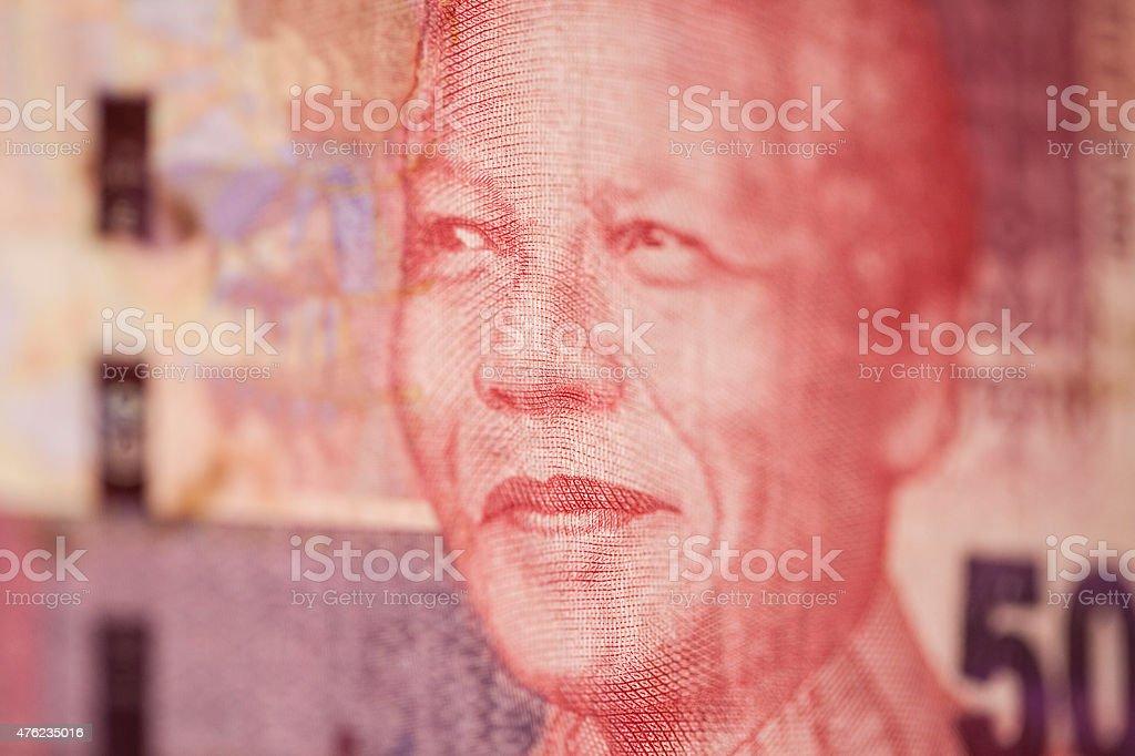portrait of Nelson Mandela at 50 rand stock photo