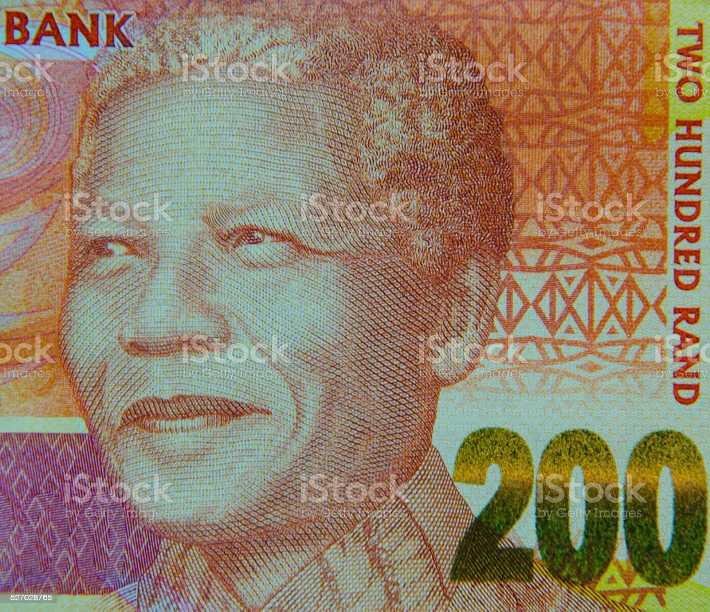 Portrait of Nelson Mandela on 200-rand note stock photo