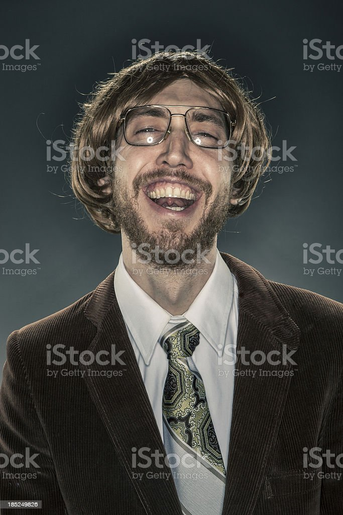 Portrait of Nerdy Scholar in Corduroy Jacket, Laughing at Camera stock photo