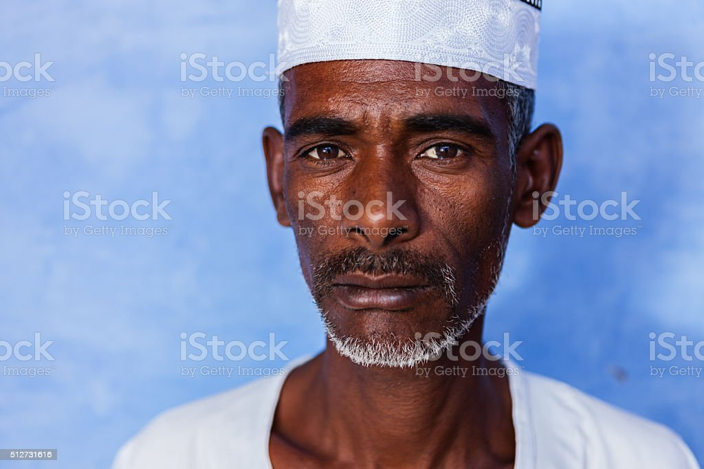 Portrait of Nubian man in Southern Egypt stock photo