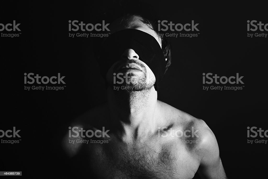 Portrait of nude young men blindfolded royalty-free stock photo