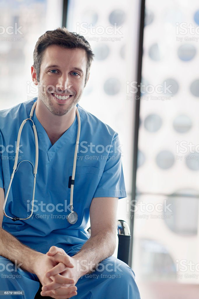 Portrait of nurse in medical facility stock photo