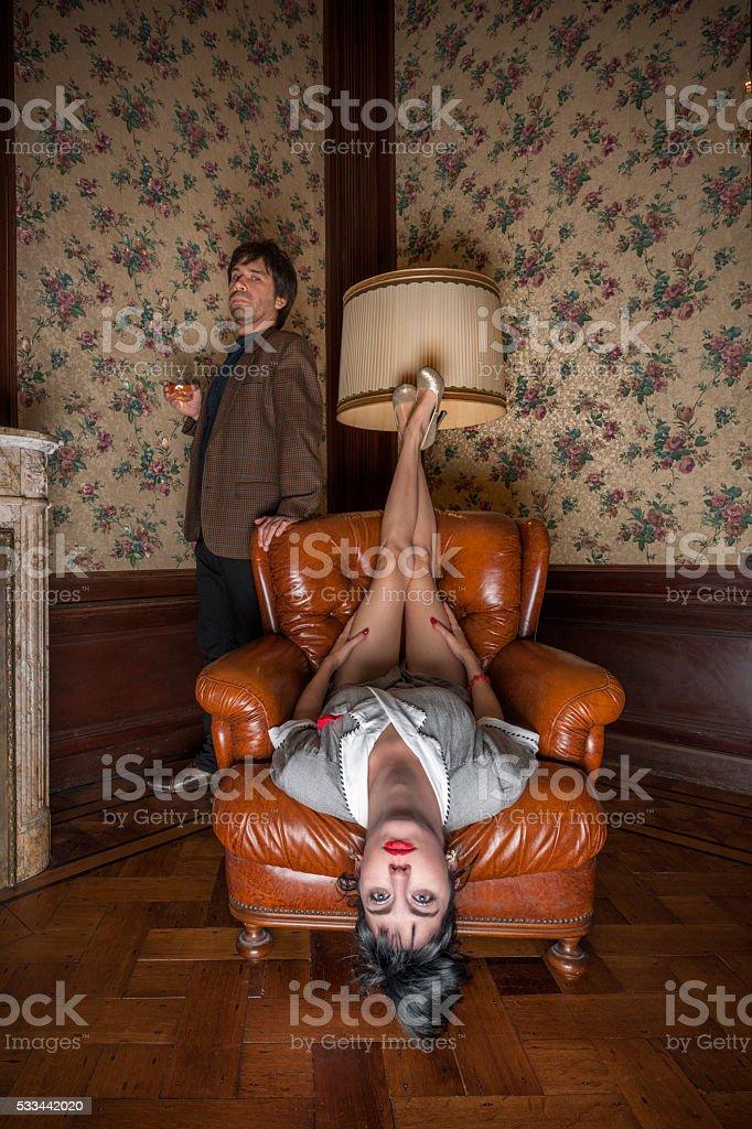Portrait of odd couple stock photo