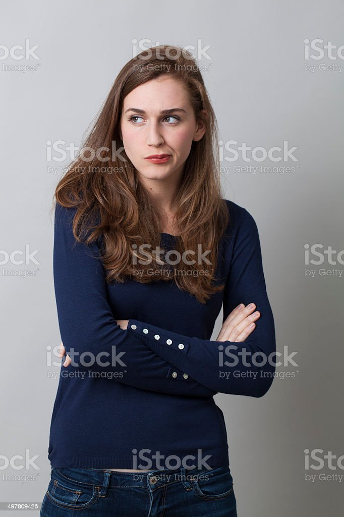 portrait of offended beautiful girl expressing disagreement and reflection stock photo