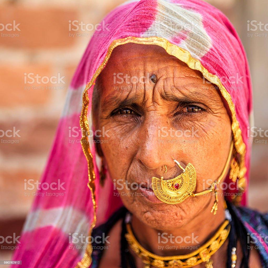 Portrait of old Indian woman, Bishnoi village near Jodhpur stock photo