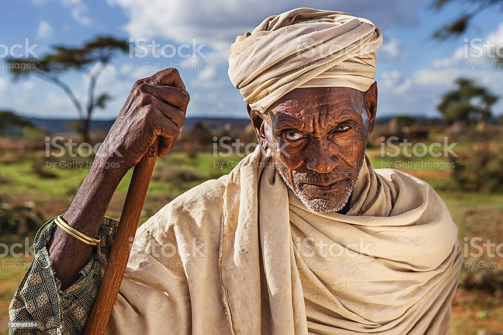 Portrait of old man from Borana tribe, Ethiopia, Africa royalty-free stock photo