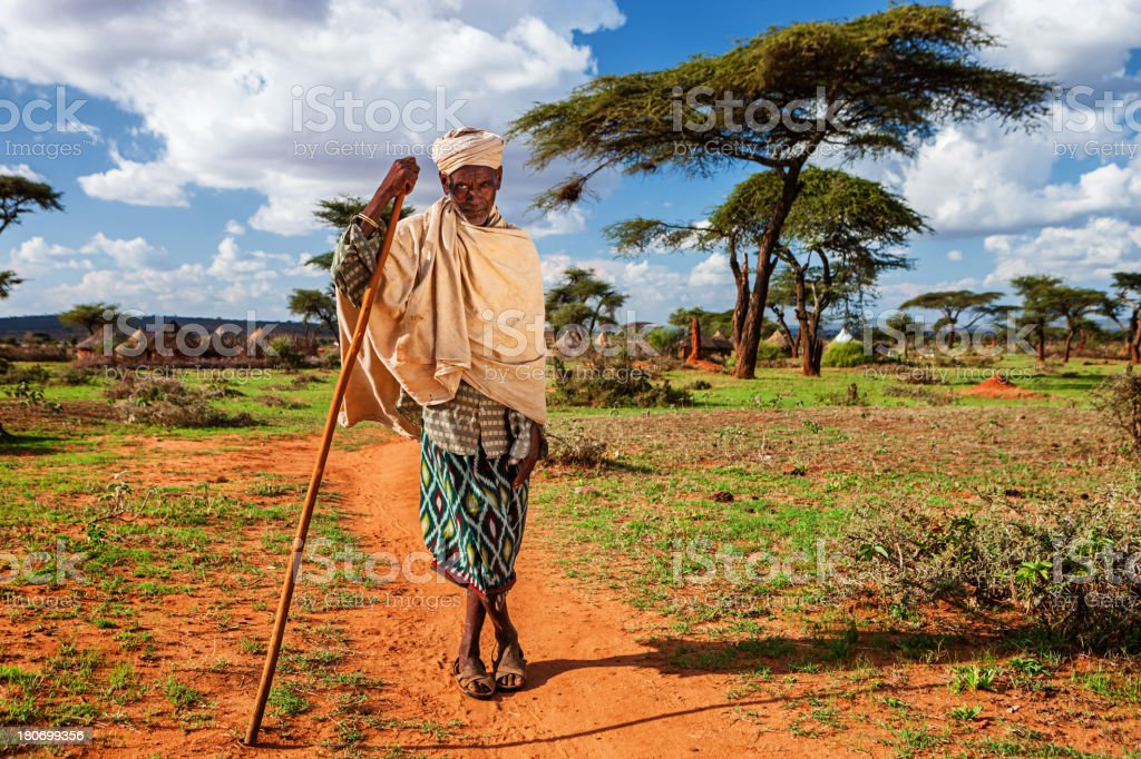 Portrait of old man from Borana tribe, Ethiopia, Africa stock photo
