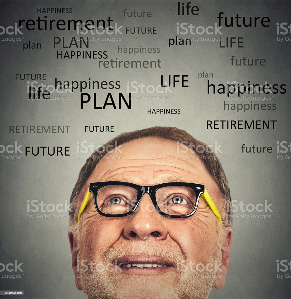 Portrait of Old Man with glasses looking up stock photo