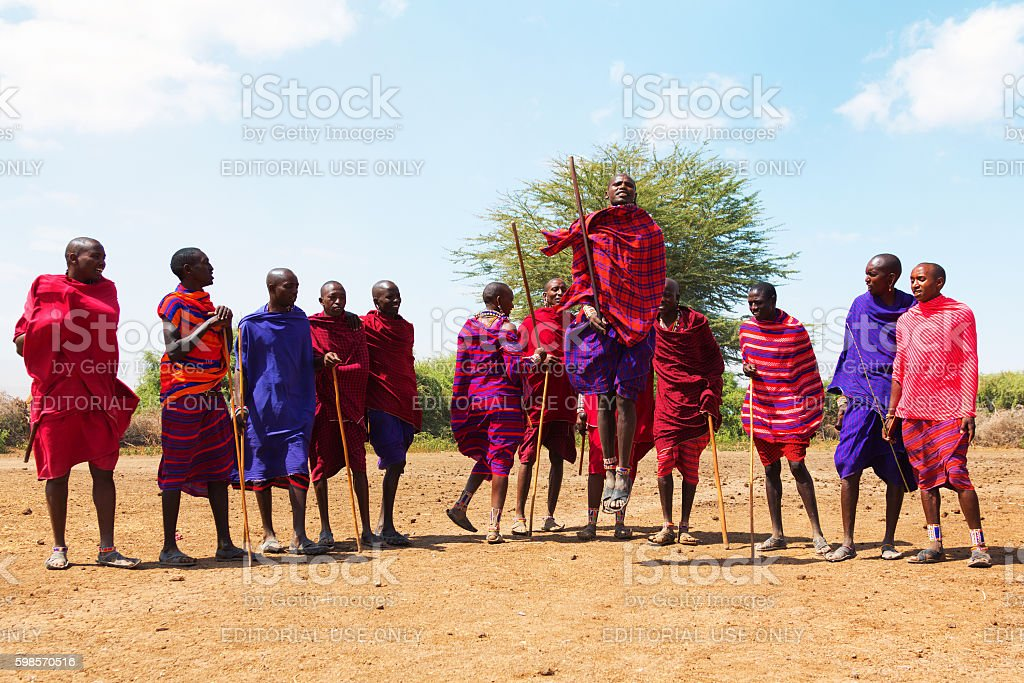 Portrait of old masai man stock photo