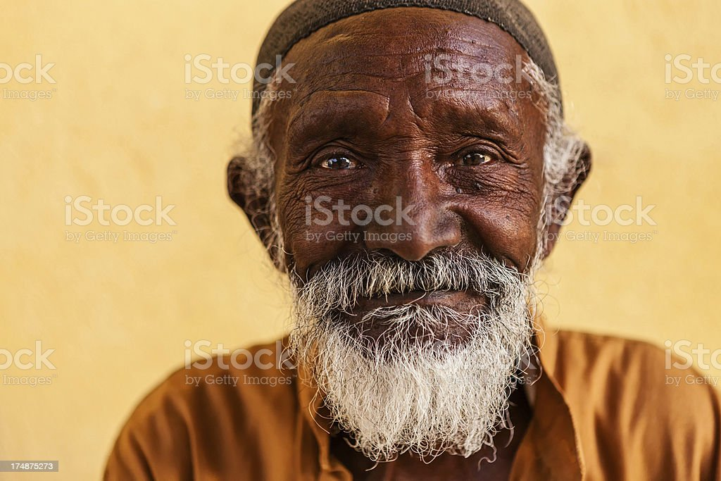 Portrait of old Muslim man in Southern Egypt stock photo
