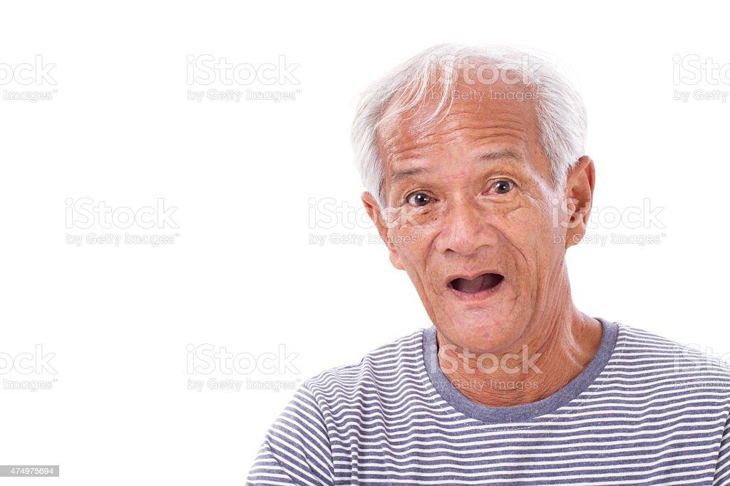 portrait of old senior man with eye sickness, surfer's eye stock photo
