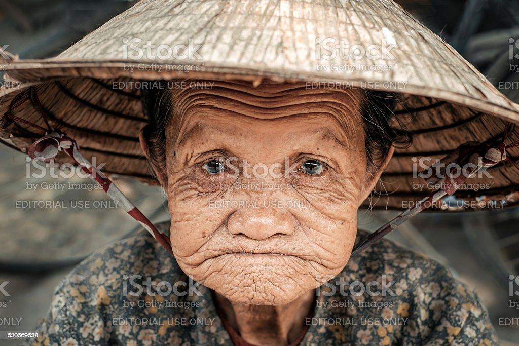 Portrait of old vietnamese woman stock photo