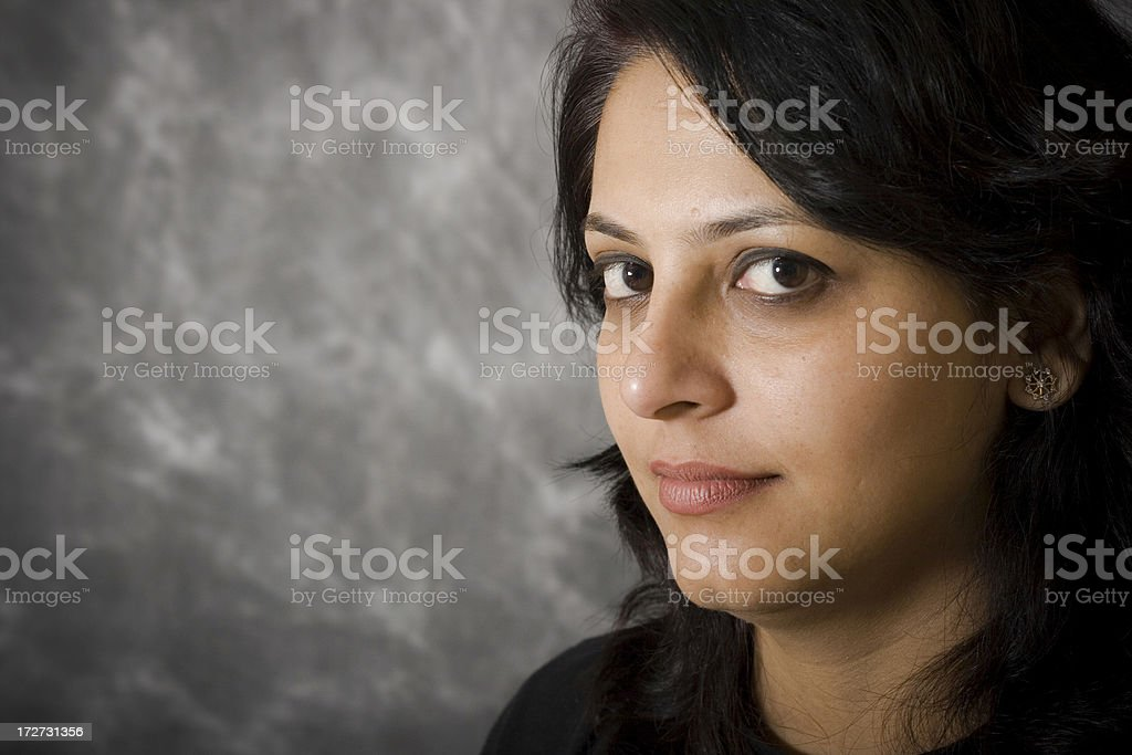 Portrait of One cheerful Indian Woman horizontal royalty-free stock photo
