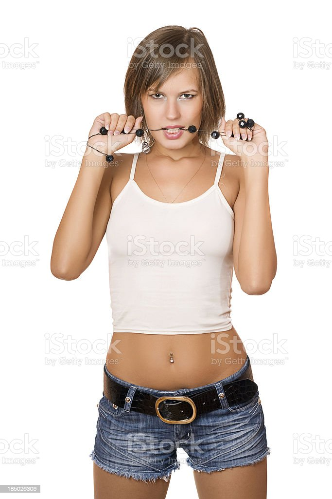 Portrait of passionate girl in a white top and shorts stock photo