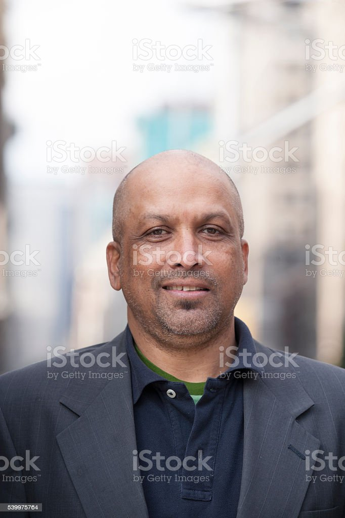 Portrait of pedestrian in city stock photo