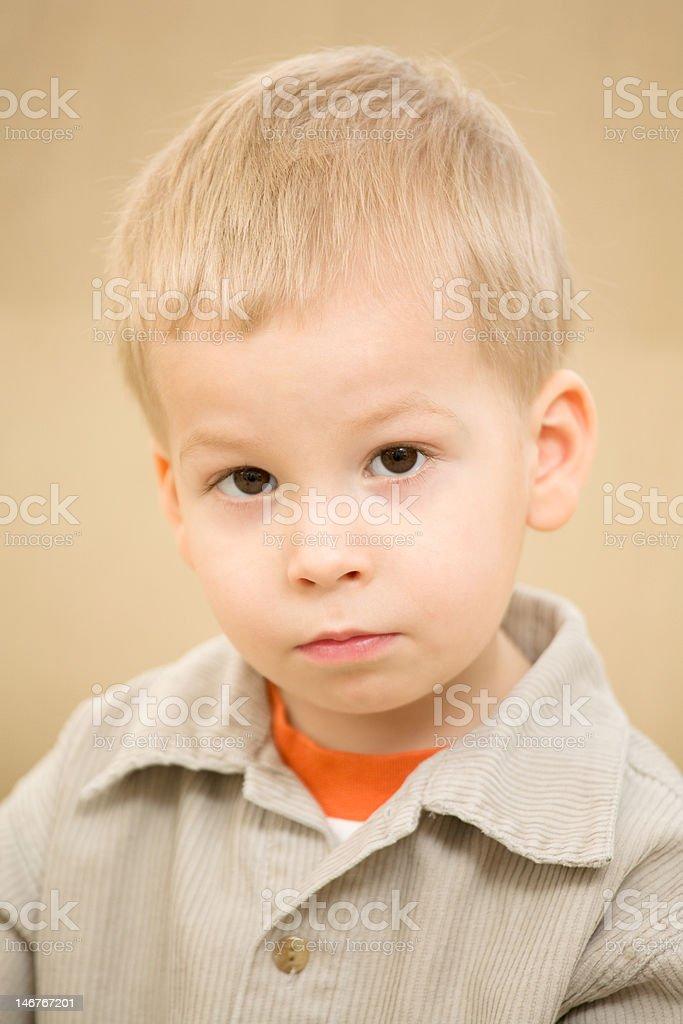 Portrait of pensive boy royalty-free stock photo